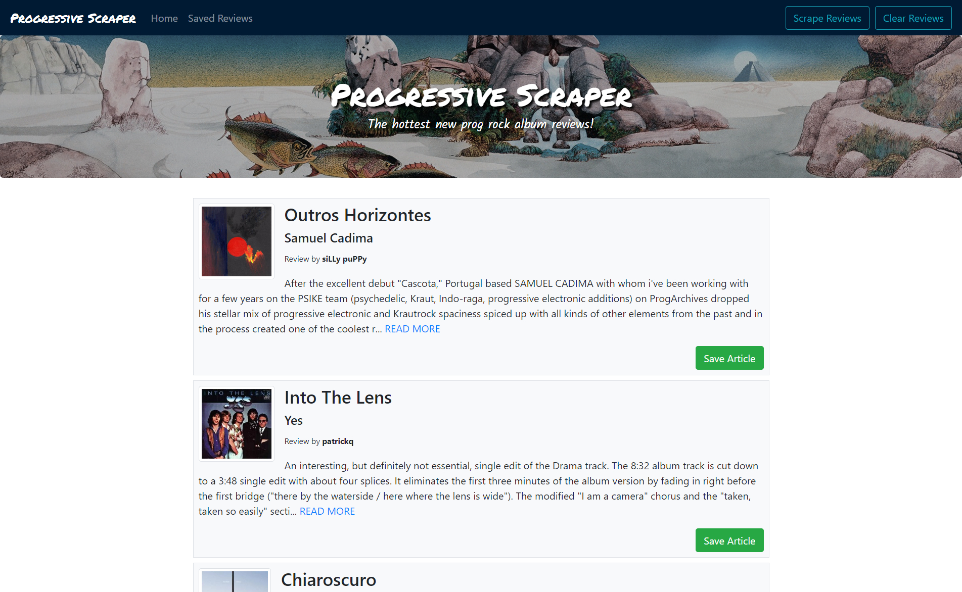 progressive scraper screenshot